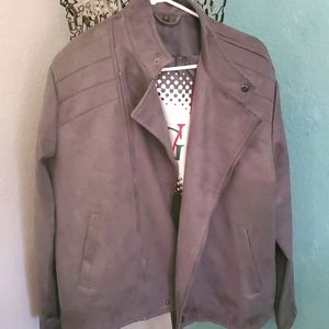VG World Collection NWT Gray Suede Leather Jacket